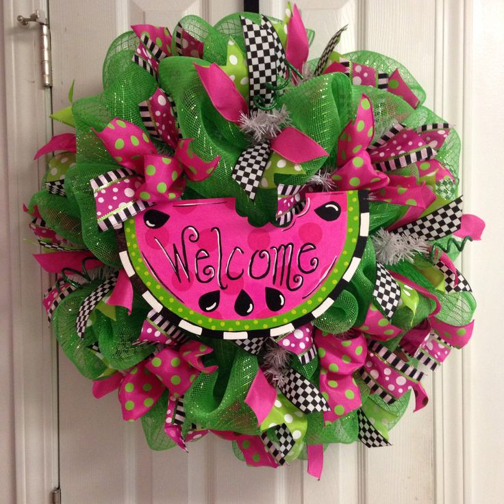 Lime and hot pink watermelon welcome deco mesh wreath by BeccasFrontDoorDecor on Etsy https://www.etsy.com/listing/204996396/lime-and-hot-pink-watermelon-welcome