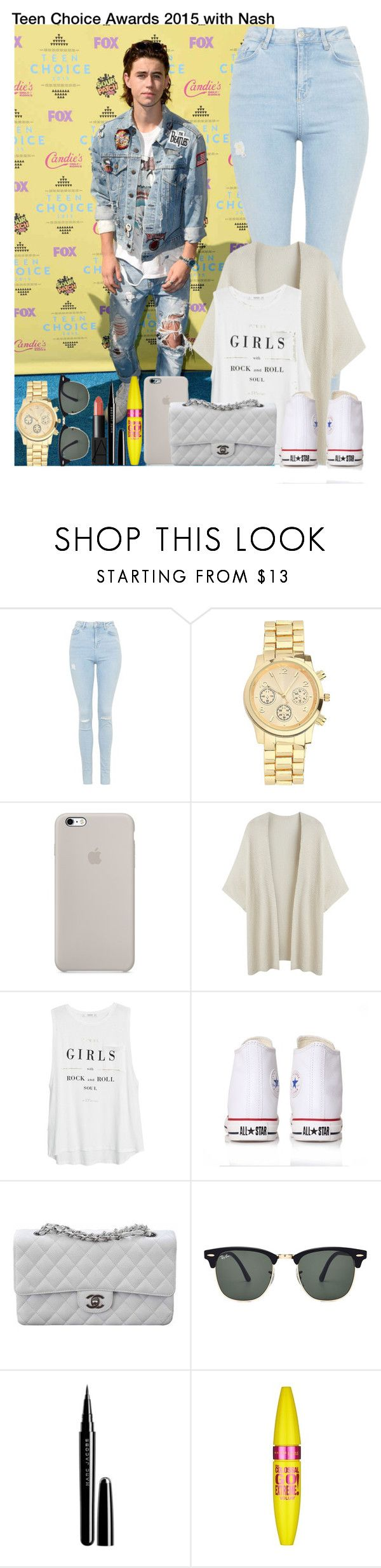 """Teen Choice Awards 2015 with Nash"" by irish26-1 ❤ liked on Polyvore featuring Topshop, MANGO, Converse, Chanel, Ray-Ban, Marc Jacobs, Maybelline, NARS Cosmetics and plus size clothing"