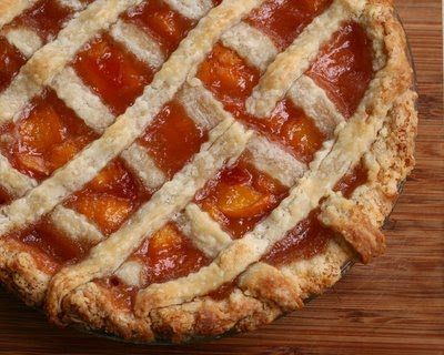 This pie recipe won first prize in my town's peach pie contest. Text, recipe and photograph of First-Prize Peach Pie with Lattice Crust © Kitchen Parade, All Rights Reserved.