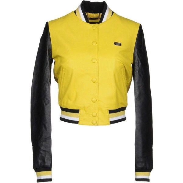 Philipp Plein Jacket ($2,300) ❤ liked on Polyvore featuring outerwear, jackets, yellow, bomber style jacket, long sleeve jacket, two tone jacket, philipp plein jacket and bomber jackets