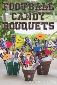 How to Make a Football Chocolate Candy Bar Bouquet! #chocolate4thewin #shop #diy