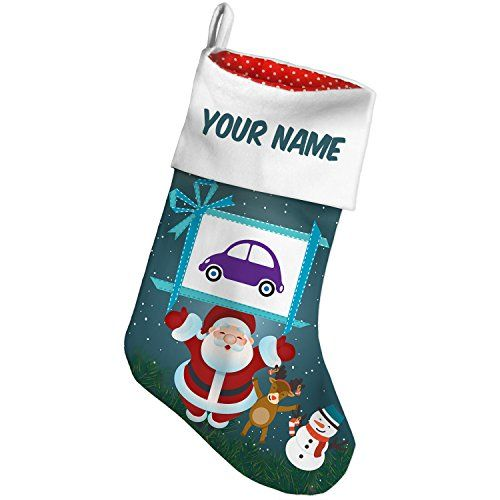 Christmas Stocking Kids Design Purple Car Xmas night NEONBLOND >>> See this great product. #XmasStockingsHolders
