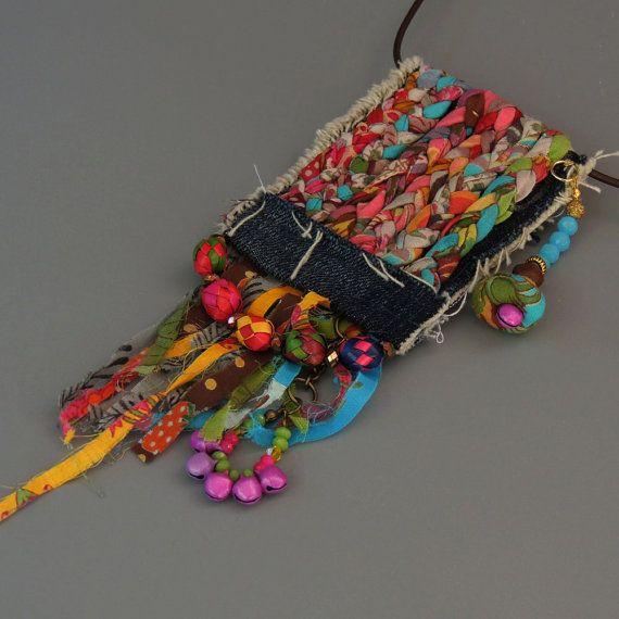 Ecofriendln fabric necklace, Boho textile necklace, Tassel Statement Necklace , OOAK