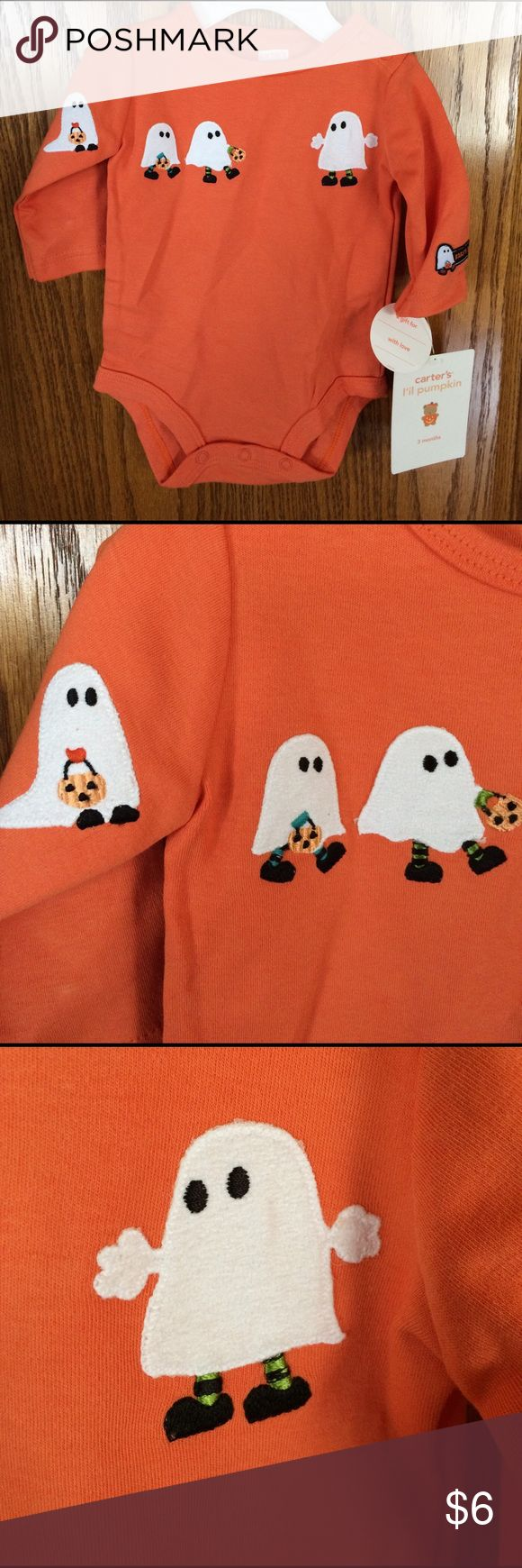 Carters Halloween Onesie Size 3 months. NWT. Carters Halloween Onesie Size 3 months 8-12.5 lbs. NWT. Ghosts are so fuzzy and cute!! Smoke free home. Carter's One Pieces Bodysuits