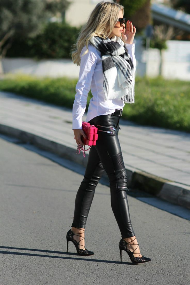 Faux leather pants - Zara. Christian Louboutin heels. Shirt - Zara