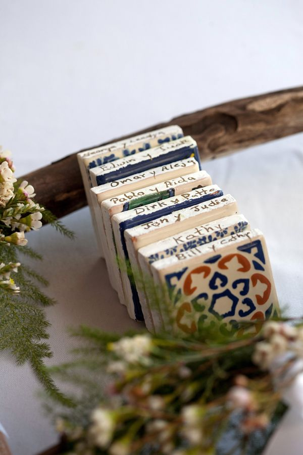 cool Puerto Rican tiles used as escort cards