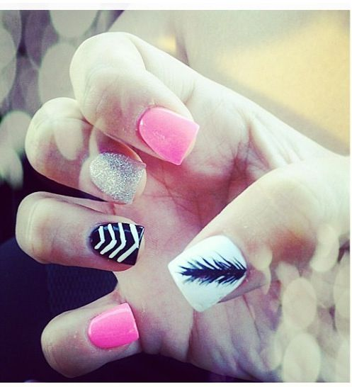 Chevron, sparkles, and feathers. A perfect combo!