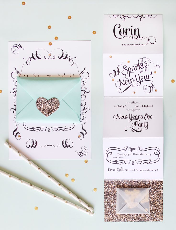 Mint green & gold glitter new years eve invitations | www.beckylord.co.uk