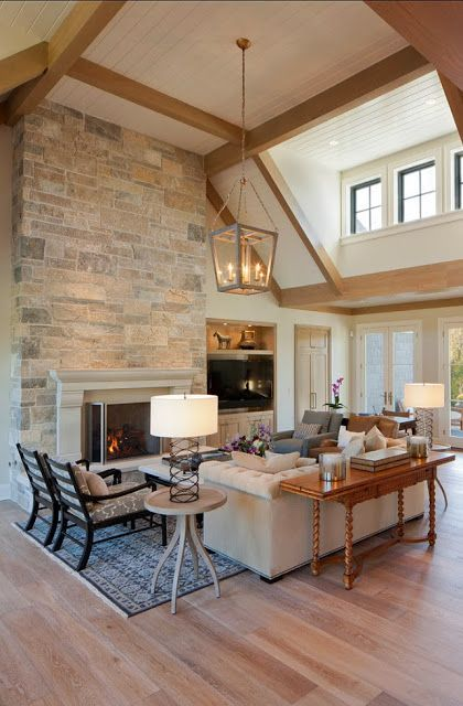 72 best images about great rooms with vaulted ceilings on - Does a living room need a fireplace ...