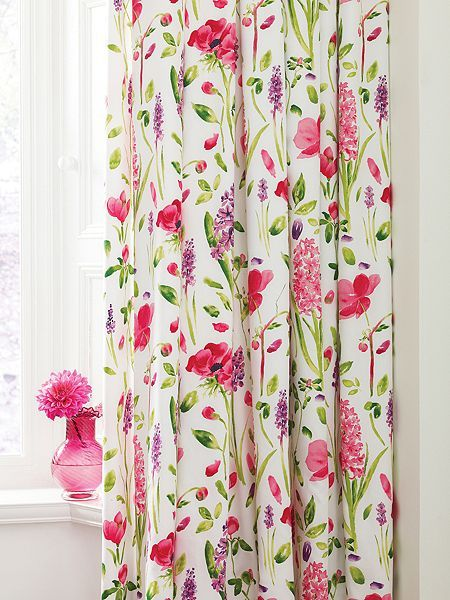Spring flowers lined curtains 66x72 multi