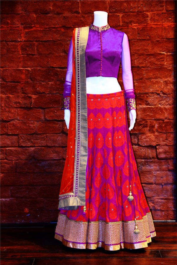 Pink and Purple Half Saree with collar