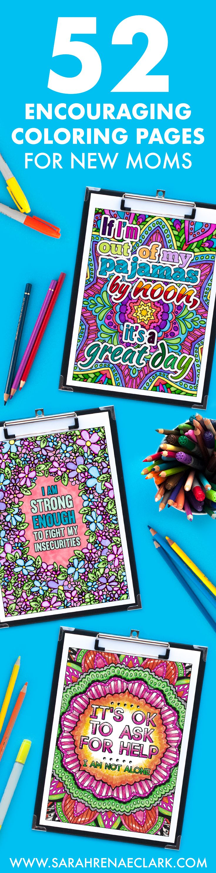 Enjoy a moment of relaxation that fits around your schedule as a new mom. The 52 coloring pages in this coloring book for new moms is the perfect self-care alternative that encourages you as a mom and nurtures your creative side. Click to find out more!