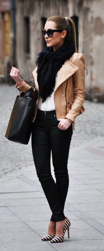 #winter #fashion / faux fur scarf + leather