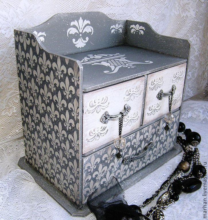 Купить Мини комод для украшений Королевские лилии. Декупаж - серый, комод, миникомод, мини комод