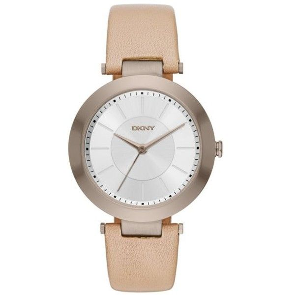 Dkny Tan Womens Stanhope Tan Leather Three-Hand Watch - Women's ($135) ❤ liked on Polyvore featuring jewelry, watches, tan, leather jewelry, leather wrist watch, dkny, white dial watches and leather watches