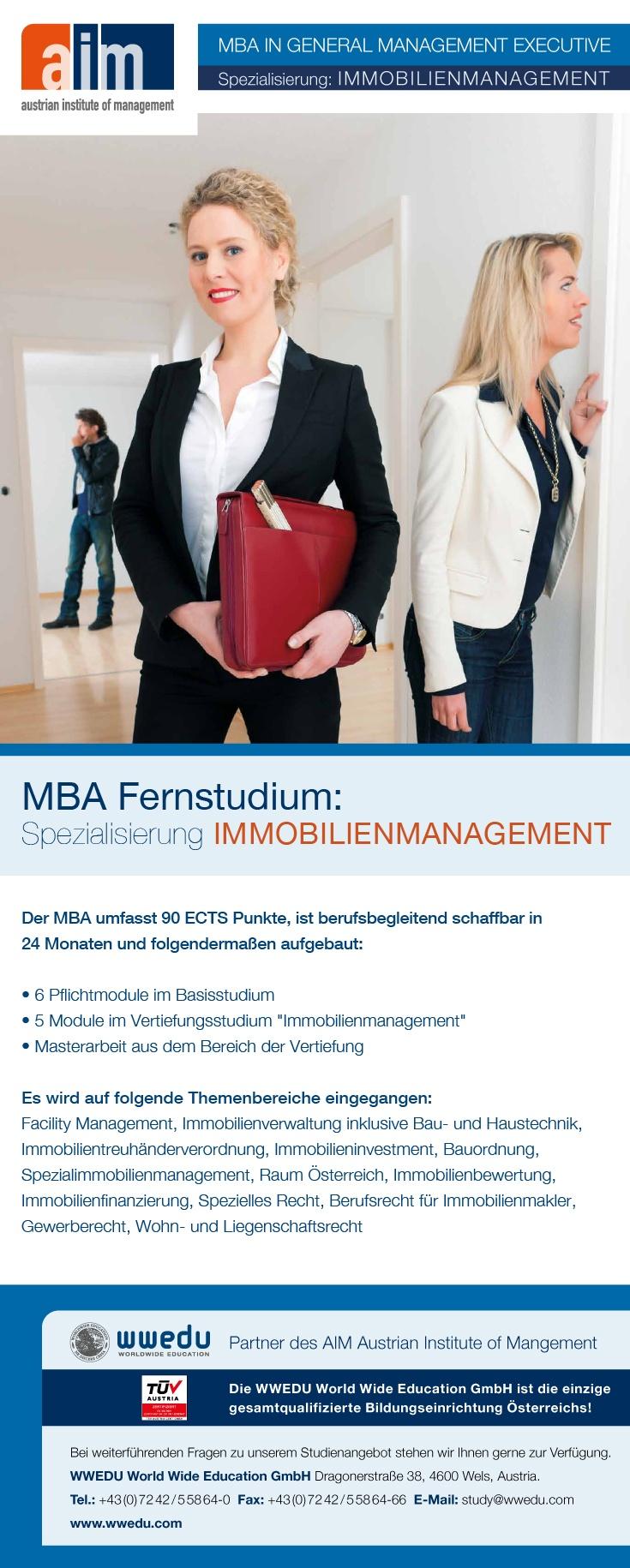 """MBA Fernstudium: Spezialisierung """"Immobilienmanagement"""" : Es wird auf folgende Themenbereiche eingegangen: Facility Management, Immobilienverwaltung inklusive Bau- und Haustechnik, Immobilientreuhänderverordnung, Immobilieninvestment, Bauordnung, Spezialimmobilienmanagement, Raum Österreich, Immobilienbewertung, Immobilienfinanzierung, Spezielles Recht, Berufsrecht für Immobilienmakler, Gewerberecht, Wohn- und Liegenschaftsrecht. #mba #immo #fernstudium #weiterbildung #realestate #makler"""
