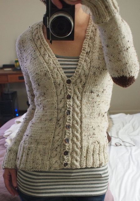Free Crochet Pattern For Cabled Sweater : cabled cardigan with elbow patches http://www.ravelry.com ...