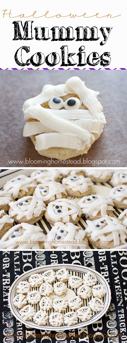 The most adorable and delicious halloween cookies ever! These mummy cookies are easy to make and oh so cute. Perfect for class parties or any halloween get together.