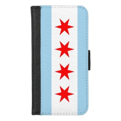 iPhone 7/8 Wallet Case with Flag of Chicago - stylish gifts unique cool diy customize
