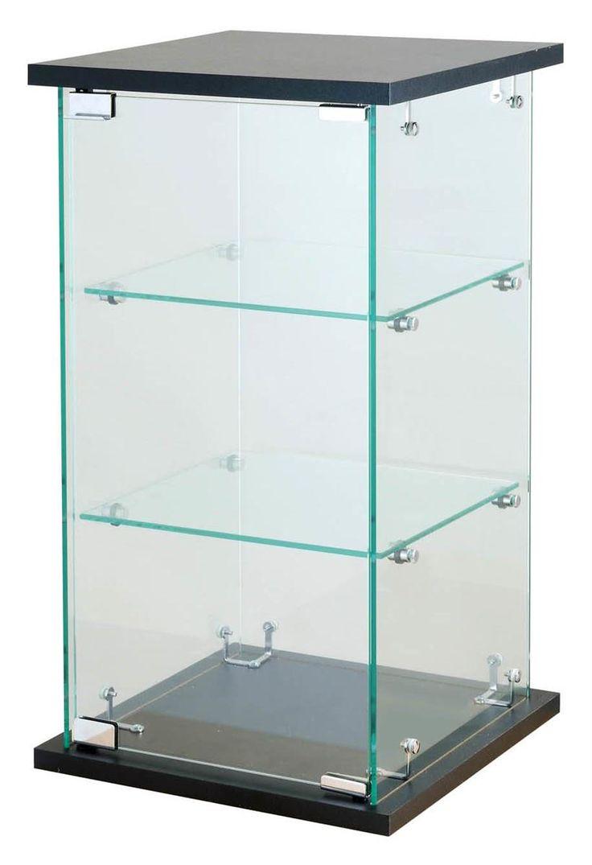 Countertop Display Case w/ Tempered Glass Shelves & Locking Door - Black