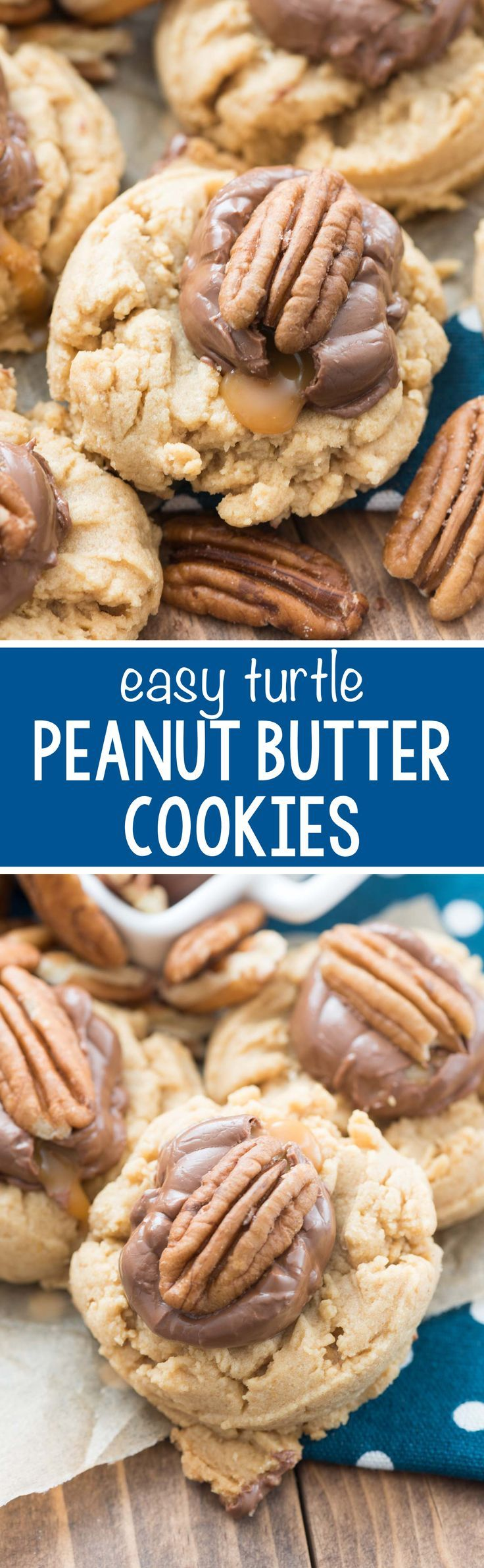 EASY Turtle Peanut Butter Cookies - this is my FAVORITE peanut butter cookie recipe topped with a caramel candy and a pecan. The easiest way to dress up a peanut butter cookie!