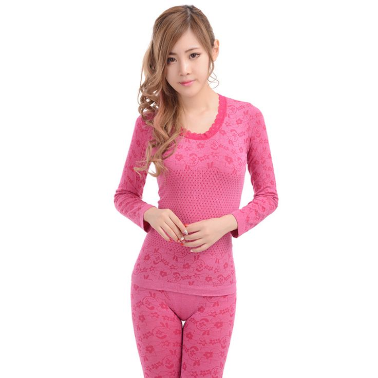 2016 New Winter Women Long Johns Ladies O-Neck Seamless Slim Thermal Underwear Set Elastic Girls Top and Pant Suit Warm Tights