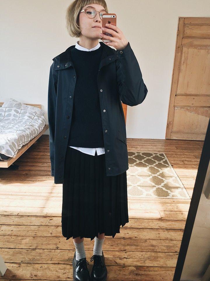 Toni Caroline - Asos White Shirt, & Other Stories Navy Jumper, Rains Rain Jacket, Ymc Pleated Skirt - 17.02.17 | LOOKBOOK