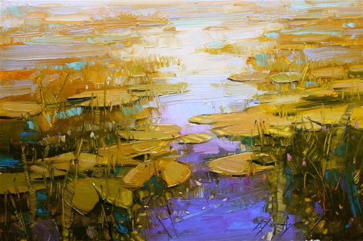 "Original art for sale at UGallery.com | Water Lilies at the End of Autumn by Vahe Yeremyan | $350 | oil painting | 12"" h x 18"" w 