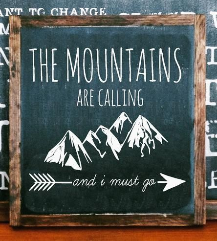 "Share your love of outdoor adventure with this hand-painted wood sign. It's lettered with the quote, ""The mountains are calling and I must go,"" and accented with mountain range and arrow illustrations. The square signage is built and framed in solid wood and distressed for a rustic look, fitting in with the rest of your cabin-themed décor.:"