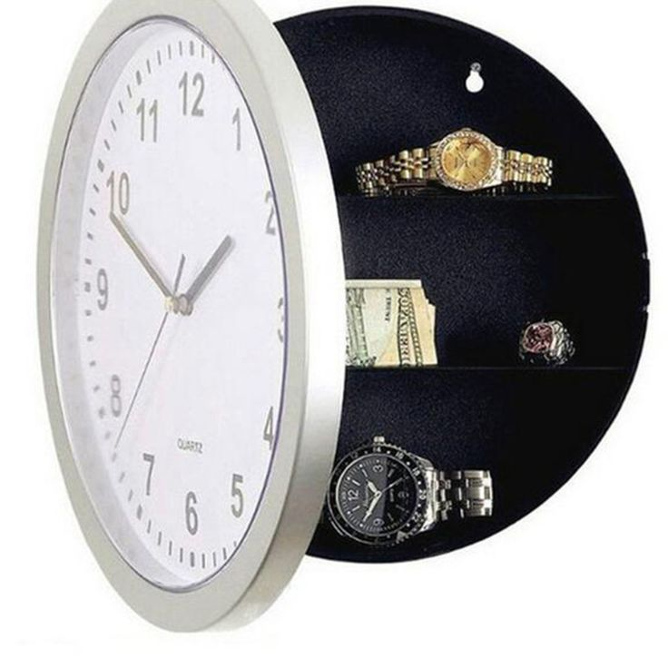 Novelty Money Jewellery Container Mechanical Storage Wall Clock Cash Safe Box