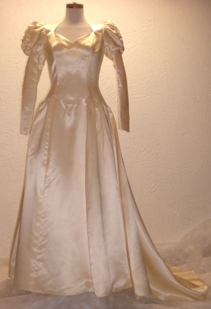 Vintage 1940s 50s Priscilla of Boston Victorian Antique Satin Bride Wed Dress   #PriscillaofBoston