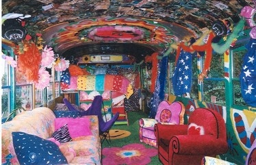 the inside of Katwise's psychedelic bus: Hippie Buses, Picture, Hippie Bus Interiors, Buses Convertible, Art Trippy, Psychedelic Bus, Katwis Bus, Circus Art, Bus Converse
