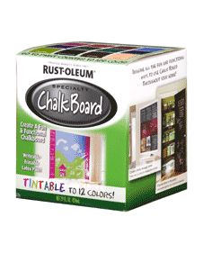 OVERVIEW:  Rust-Oleum Specialty Chalk Board Tint Base converts surfaces into a usable chalkboard. Apply to metal, wood, masonry, drywall, plaster, glass, concrete, unglazed ceramics and hardboard. Erases cleanly.   Chose from up to 12 colors for your Chalkboard paint!