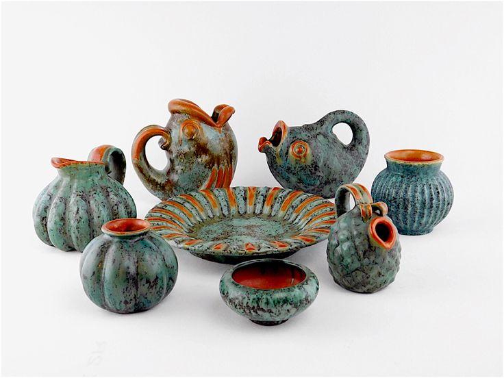 Michael Andersen. Diverse keramik med orange og blålig glasur
