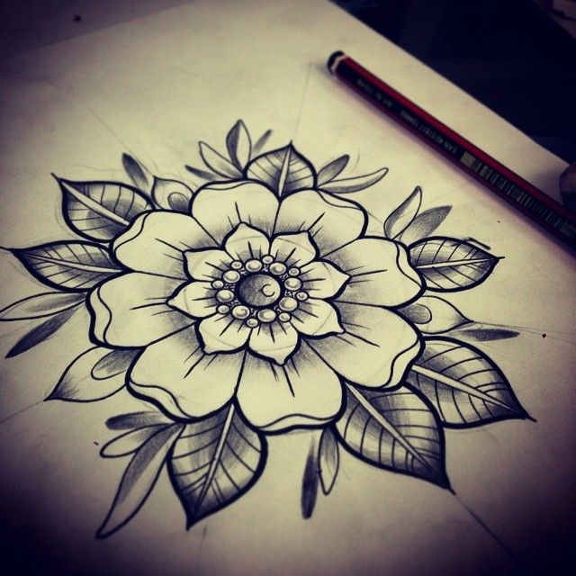 simple wee flower sketch for a client tatuajes