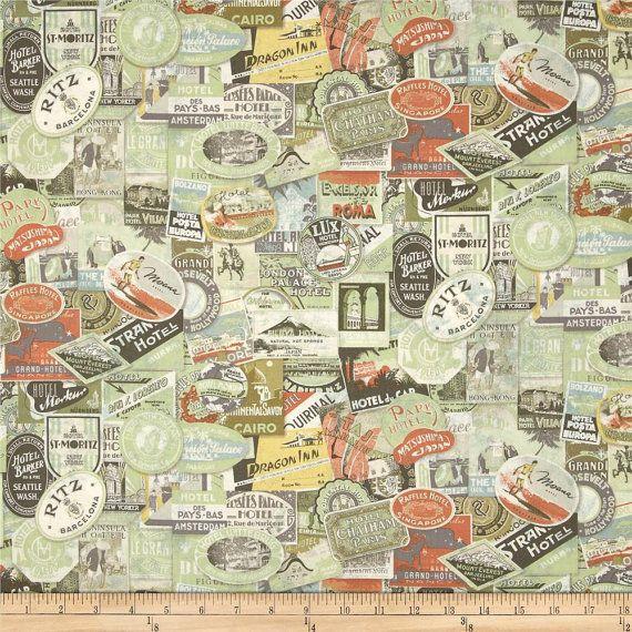 Travel Labels Multi by Tim Holtz Eclectic Elements Cotton Fabric per Fat Quarter FQ