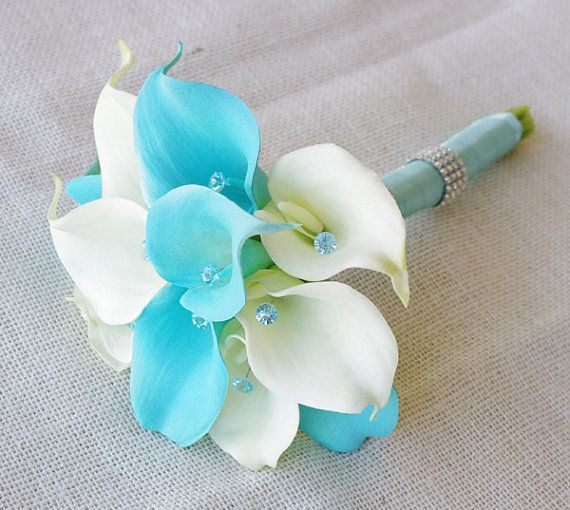 Silk Flower Wedding Bouquet - Turquoise Aruba Blue Calla Lilies Natural Touch with Crystals Silk Bridal Bouquet