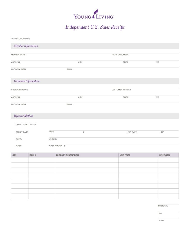 Young Living developed U.S. Sales Receipt for Young Living members