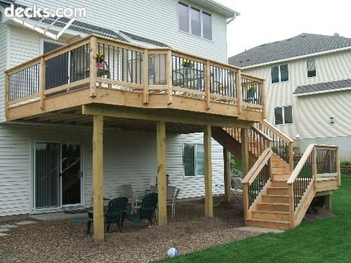 High Elevation Deck - flip the stairs to the other side. Would want to finish the bottom more and make it more appealing.