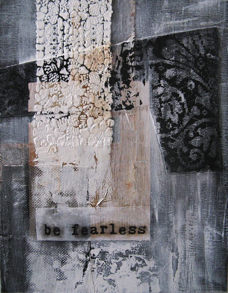 """workman:  ancagrayworks: """"be fearless"""" - mixed media on canvas board 11x14 anca gray 2014"""