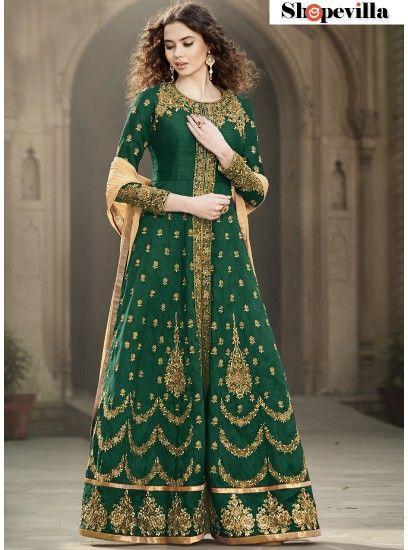 Groovy Green Colour Banglore Silk Designer Anarkali Suit-1501-Green