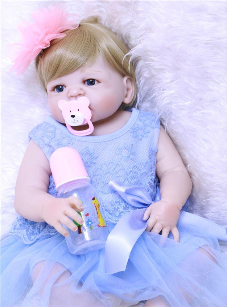 "83.78$  Buy now - http://alin55.shopchina.info/1/go.php?t=32805830093 - ""Full silicone reborn dolls 22"""" lifelike girl reborn babies for children gift bebe princess reborn bonecas de silicone inteiro""  #SHOPPING"