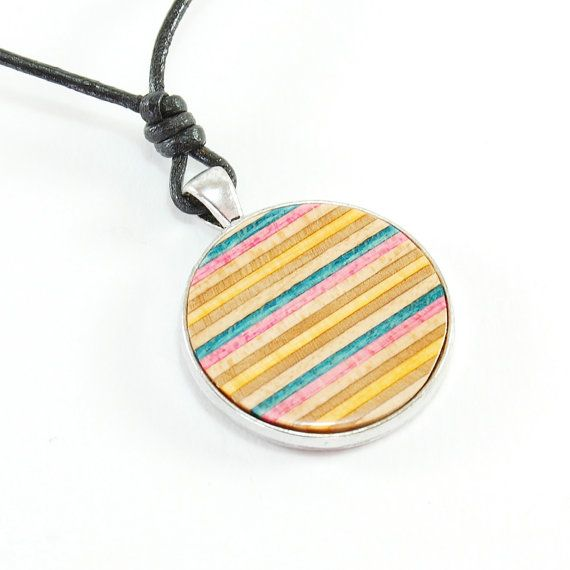 Recycled Skateboard Jewelry - Skateboard Necklace,Round ply necklace, woman birthday, Eco friendly jewelry,Black leather,Gift for girlfriend