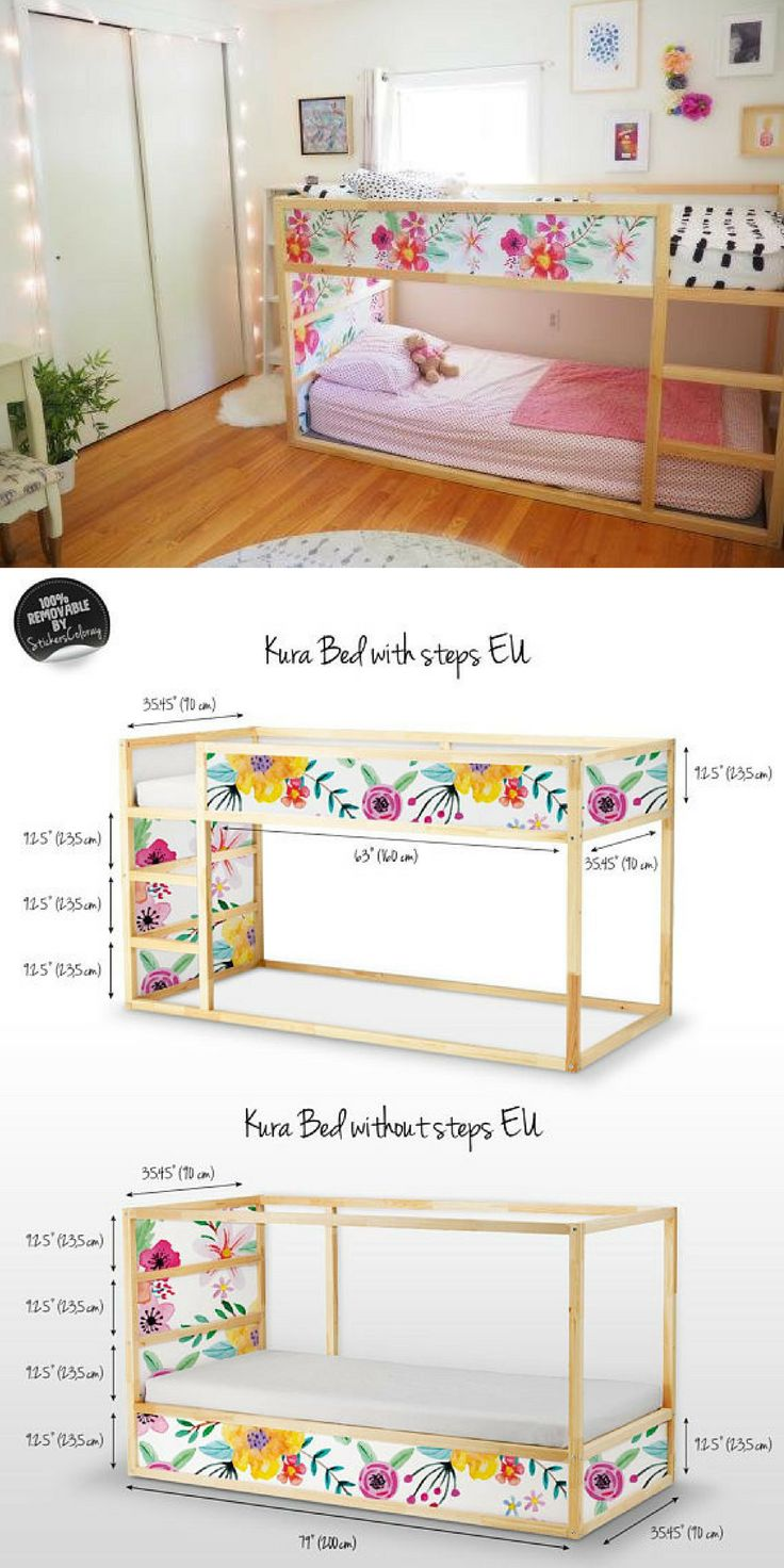 Love this IKEA hack for the Kura Bed!! Works with or without the steps. Customize the best to what your child wants to fit their personality. The decals are completely removable too so you can change them out as they grow or if you pass the bed on to someone else! #ad #kidsbedroom #ikeahack #kurabed #homedecor #DIYhomedecor #professionalpinner