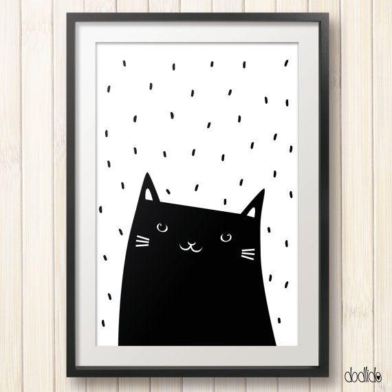 Kids poster,monochrome print,black and white,modern,scandinavian style,nursery poster,animal print,baby print,cat poster,kids room decor