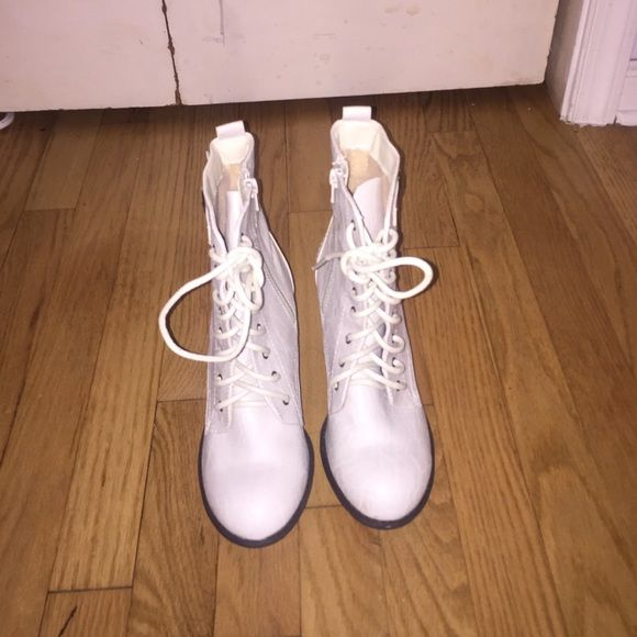 White ankle boots. These lace up white ankle booties are perfect for any outing! Have never been worn. Diba Shoes Ankle Boots & Booties