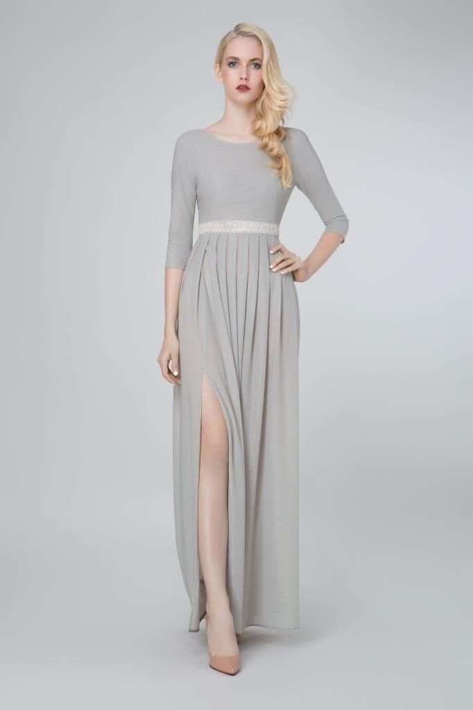 SADONI evening dress ZARA in soft grey jersey and a high split.