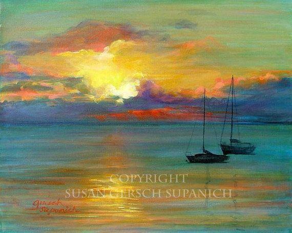 Art Print  Sunset Pair-adise colorful sunset waterscape sailboat painting 11 x 14 - Susan Gersch Supanich