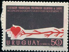 Francobolli - Donazione e trasfusione di sangue - Blood donation and transfusion Uruguay 1973