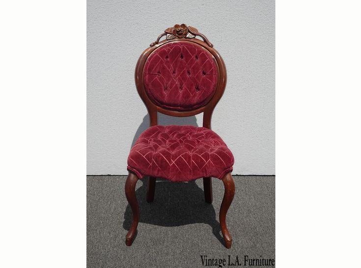 Best Vintage Victorian Style Carved Burgundy Tufted Velvet 400 x 300